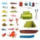 Fishing Sport Icon with Fish, Boat, Rod and Tackle