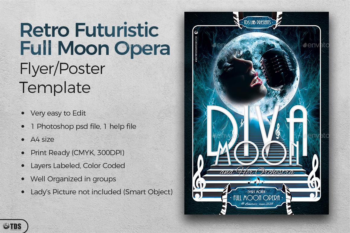 Retro Futuristic Full Moon Opera Flyer Template by lou606 – Retro Flyer Template