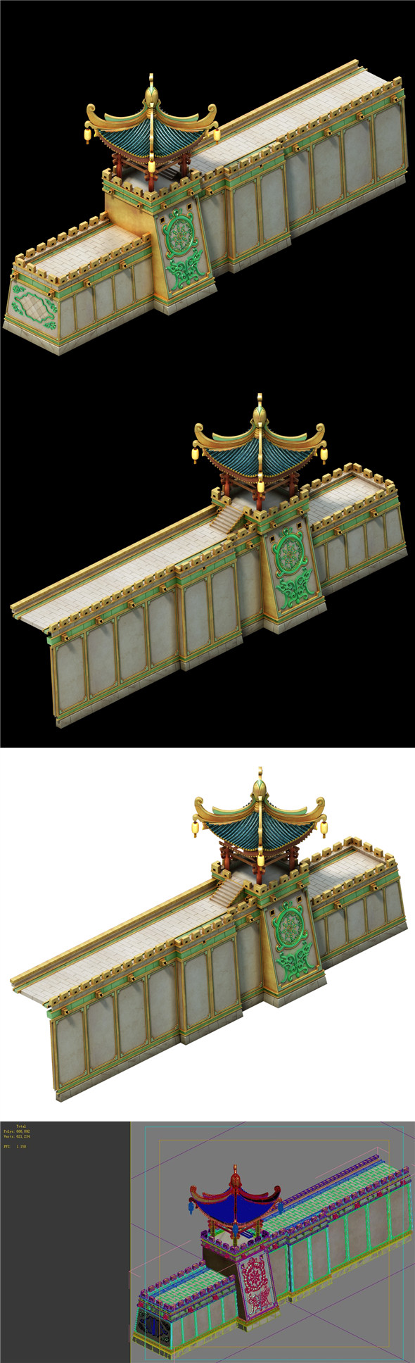 Game Model - Ancient City Wall - 3DOcean Item for Sale