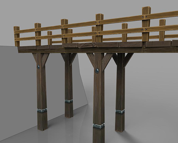Hand painted lowpoly bridge - 3DOcean Item for Sale