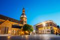 Riga Latvia. Dome Square, Dome Cathedral In Evening Illumination