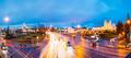 Minsk, Belarus. Night Traffic On Illuminated Street And Cathedra