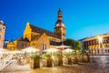 Riga Latvia. Dome Cathedral In Bright Evening Illumination Medie