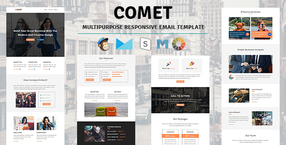 Comet - Email Template Multipurpose Responsive with Stampready Builder Access
