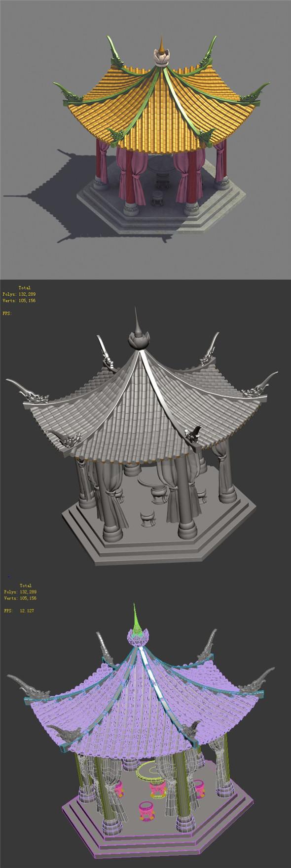 Palace - pavilion - hexagonal pavilion - 3DOcean Item for Sale