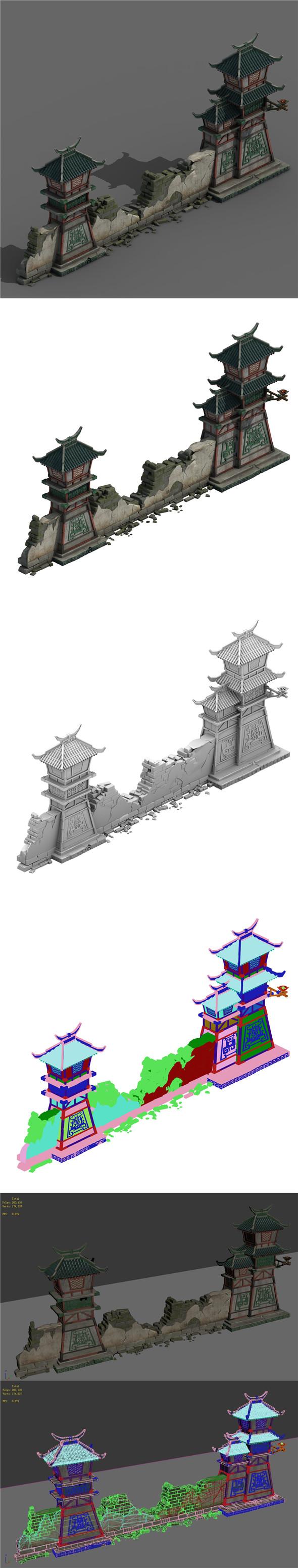 Building - broken wall 05 - 3DOcean Item for Sale
