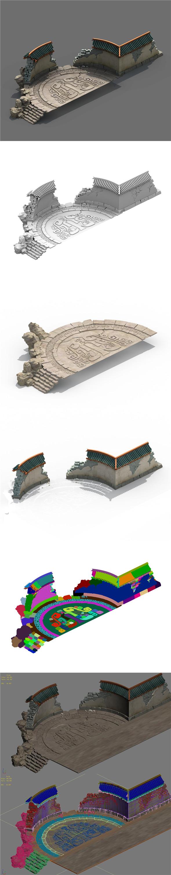 Building - Broken round wall - 3DOcean Item for Sale
