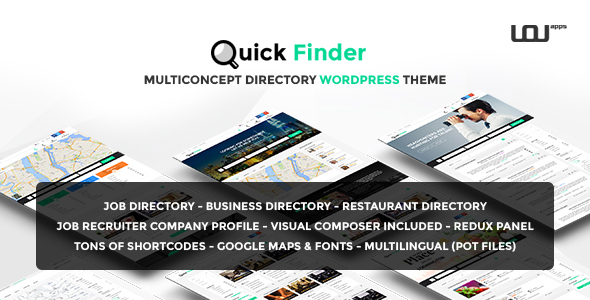 Фото Wordpress премиум шаблон  QuickFinder - Multiconcept Directory WordPress Theme — 00 preview.  large preview