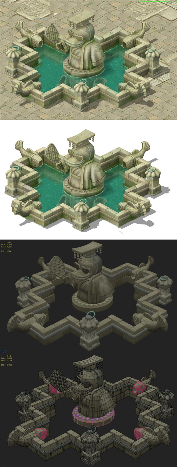 Cartoon version - city center iconic fountain - 3DOcean Item for Sale