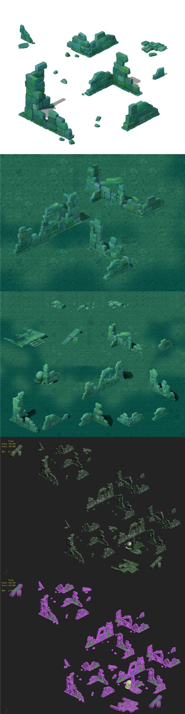Cartoon version - abandoned site - 3DOcean Item for Sale