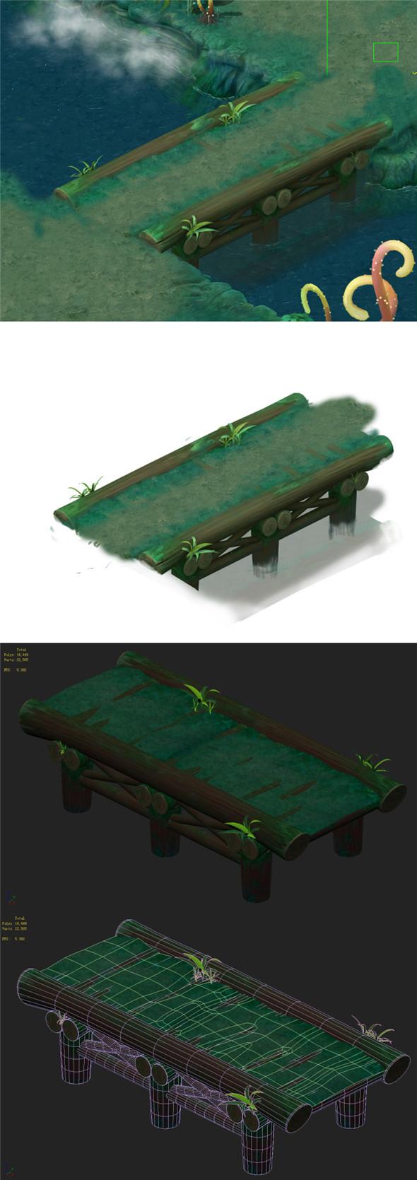 Cartoon version - stems straight wooden bridge - 3DOcean Item for Sale