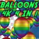 4K LGBT Flag On Balloons 4 in 1