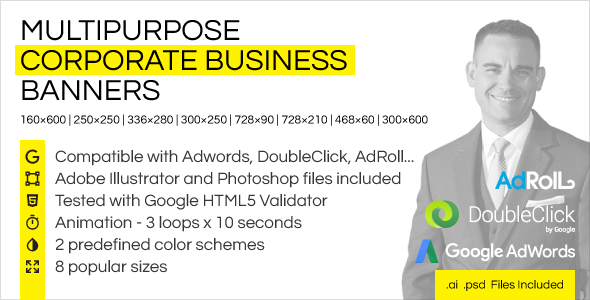 Download Multipurpose Corporate Business HTML5 Banner Ads