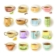 Cups with Various Colorful Print Set on White