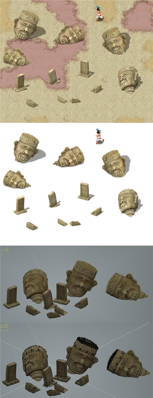 Cartoon version - statue 03 - 3DOcean Item for Sale