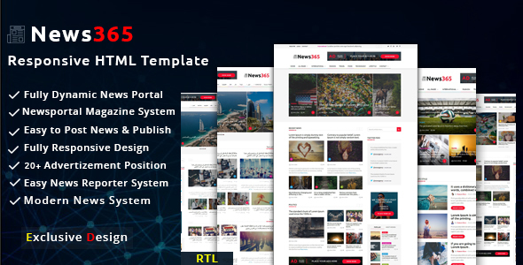 News365 - Newspaper Magazine Blog HTML Multipurpose Template with Video Newspaper