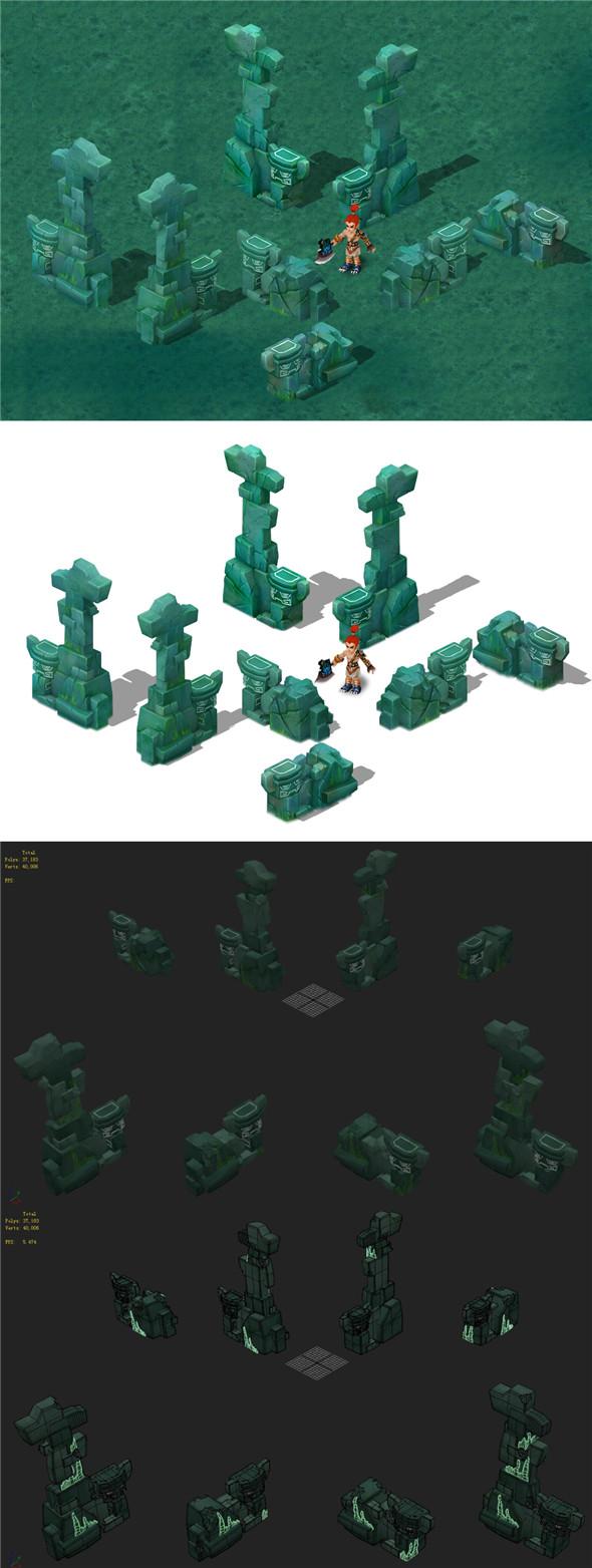 Cartoon version - the main pyramid top pillars - 3DOcean Item for Sale