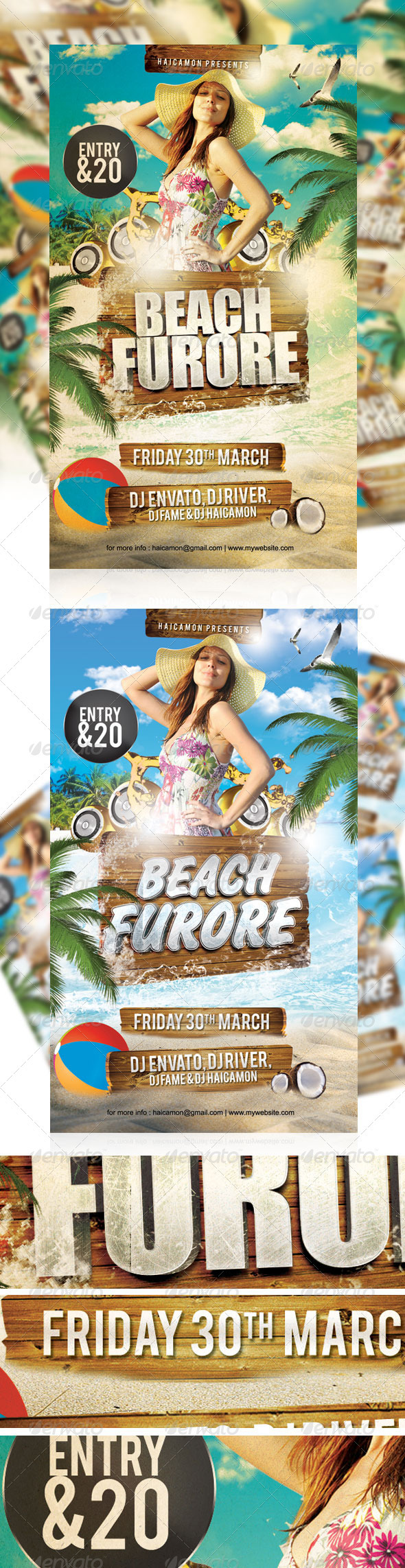 Beach Furore Party Flyer - Clubs & Parties Events