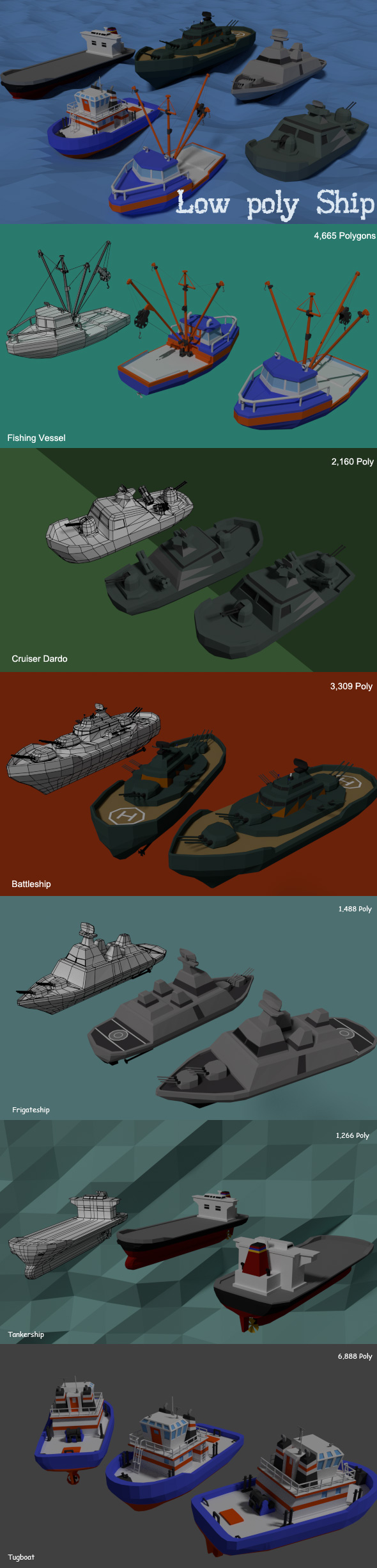 Low poly Ship - 3DOcean Item for Sale