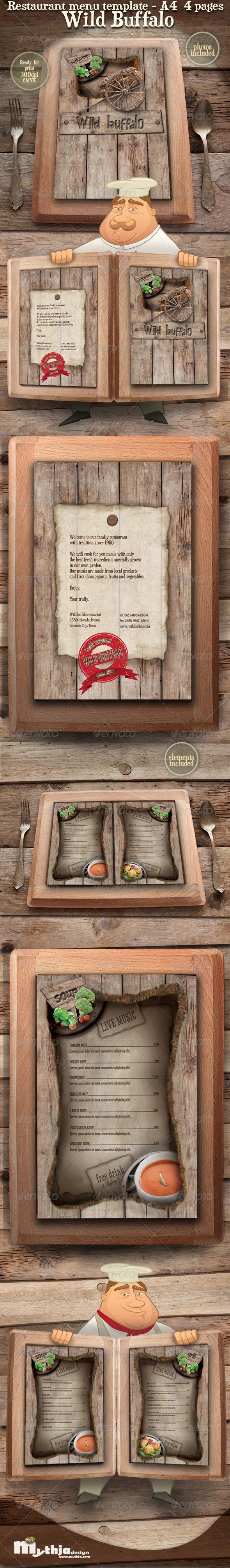 Restaurant Menu template - Wild Buffalo - Miscellaneous Print Templates
