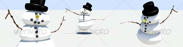 Dancing snowmen web banner - Scenes Illustrations