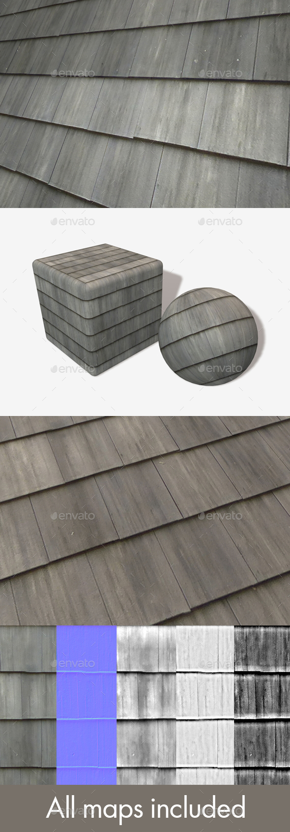 Grey Plastic Roof Tiles Seamless Texture - 3DOcean Item for Sale