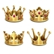 Gold 3d Crown Vector Set