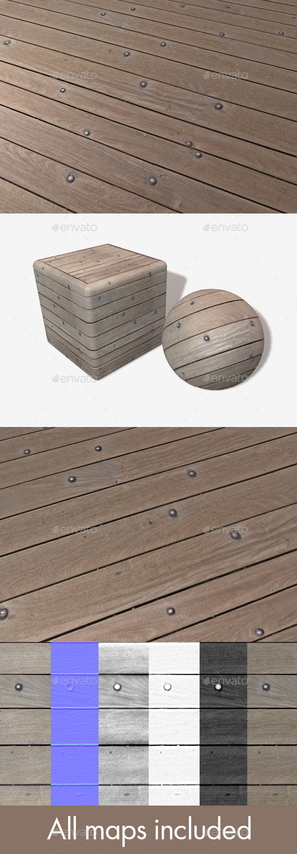 Uneven Bolted Floorboards Seamless Texture - 3DOcean Item for Sale