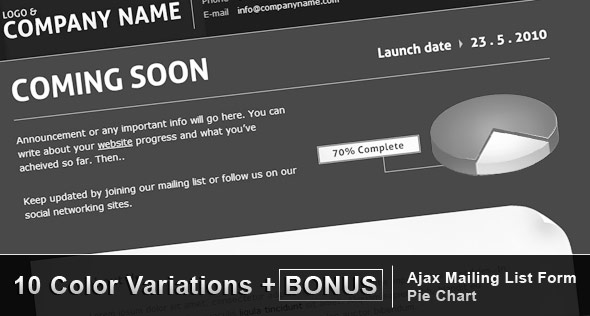 Easy Coming Soon with Pie Chart, 10 colors + Bonus - Preview image (590 x 300)px for template homepage.