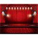 Red Stage Curtain with Spotlights and Seats
