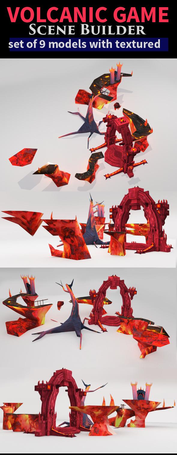 Game Scene Setup - Volcanic Theme - 3DOcean Item for Sale