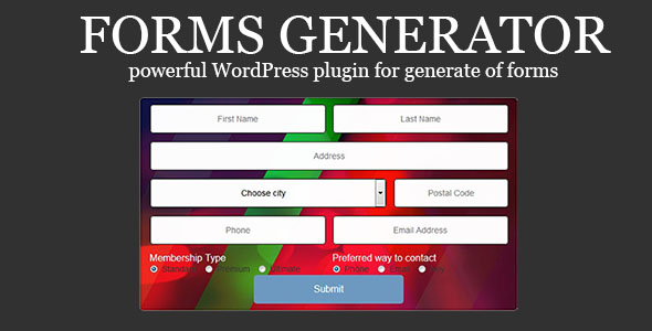 Forms Generator - powerful WordPress plugin for generate of forms