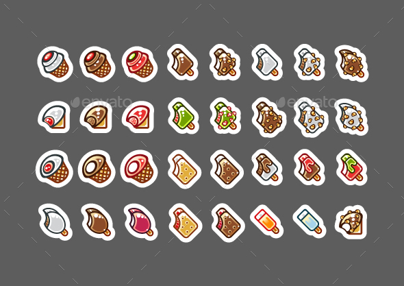 2D Bitten Ice Creams for Creating Video Games