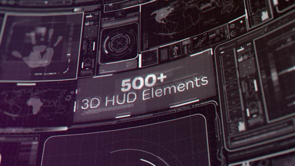 Videohive - 500+ 3D HUD Elements 19788691 - Free Download