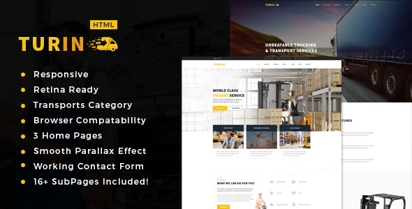 Turin - Transport and logistics HTML5 Template.