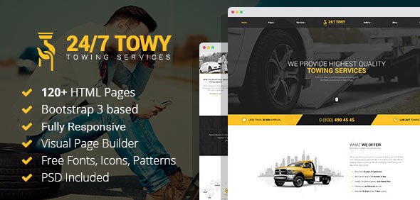 Towy - Emergency Auto Towing and Roadside Assistance Service HTML Template with Builder