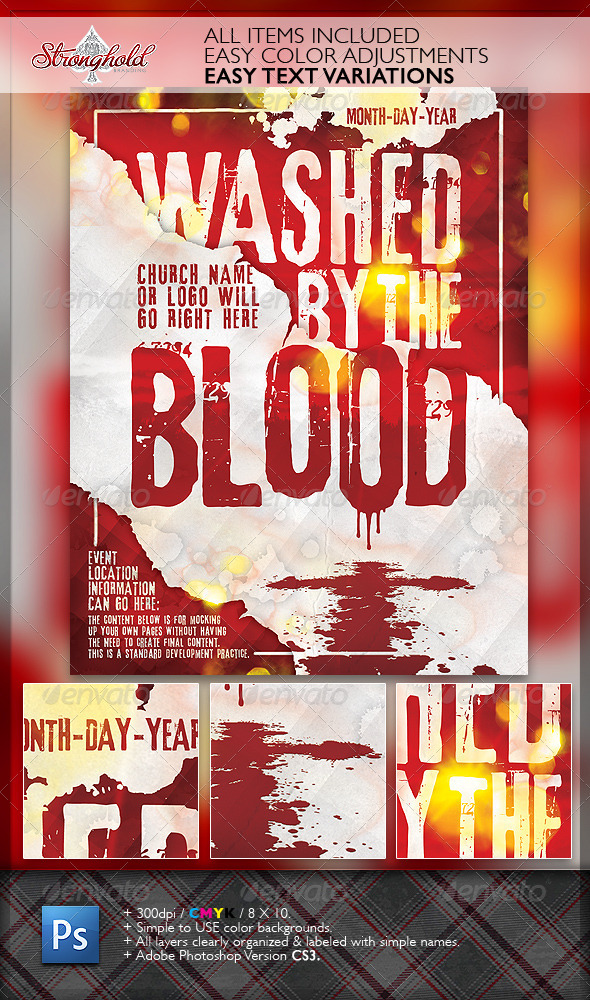 GraphicRiver Washed By The Blood Church Flyer 1926749