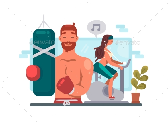 Man and Woman Training in Gym