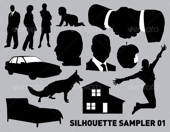 Silhouette sampler 01 - People Characters