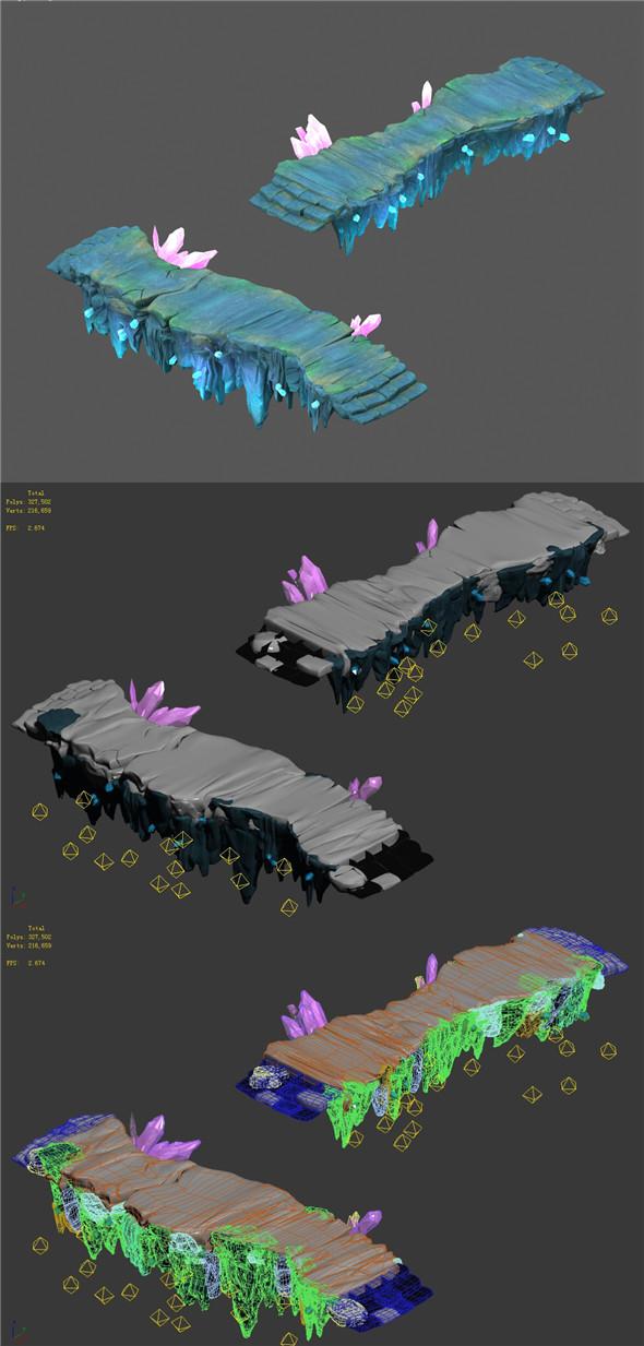 Cartoon Sky City - Ice and Snow Terrain - Gourd Road 02 - 3DOcean Item for Sale
