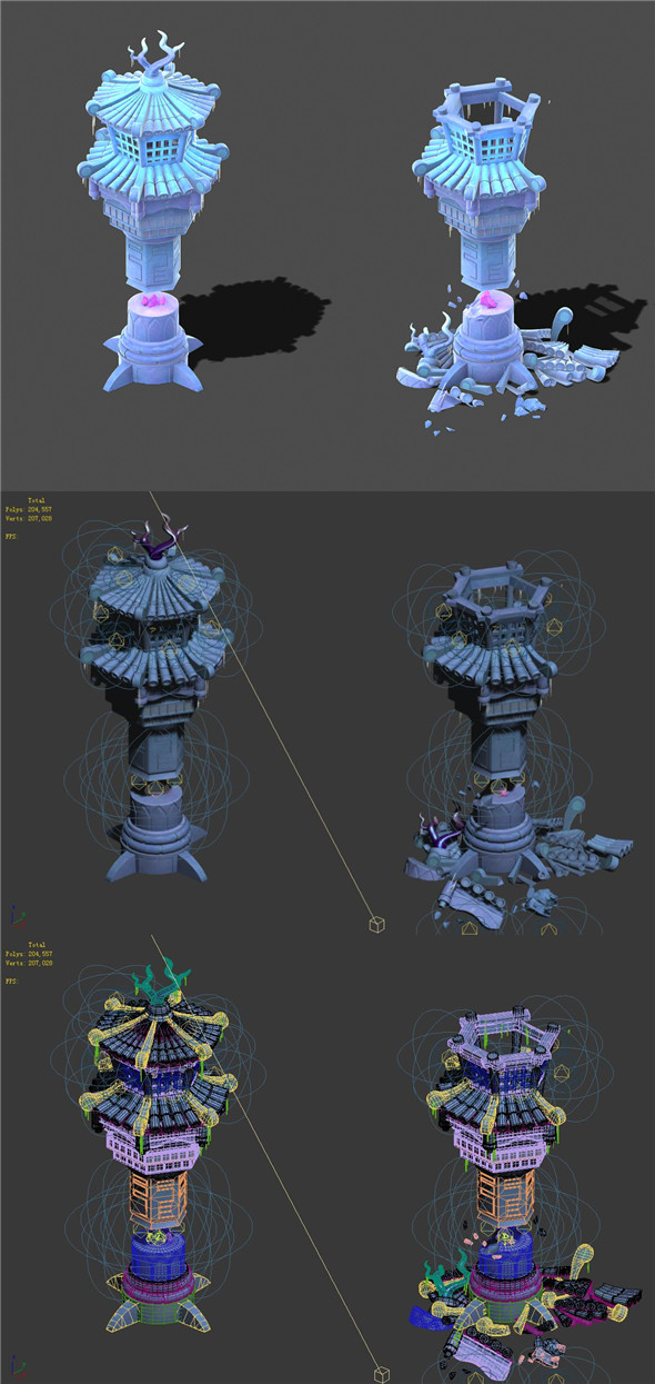 Cartoon sky city - icicle god tower 01 - 3DOcean Item for Sale