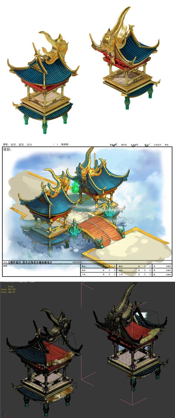 Game model - Hanging Garden - Yunhai Kunlun Hui Qianmen the door - 3DOcean Item for Sale