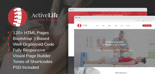 Active Life - Chiropractors, Spa and Massage Salon HTML Template with Visual Builder and Dashboard