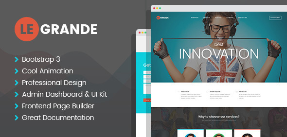 LeGrande - Corporate HTML Template with Visual Builder and Dashboard Pages
