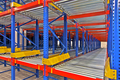 Warehouse storage, rack systems Close up