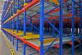 Warehouse Storage, Shelving Rack System Closeup