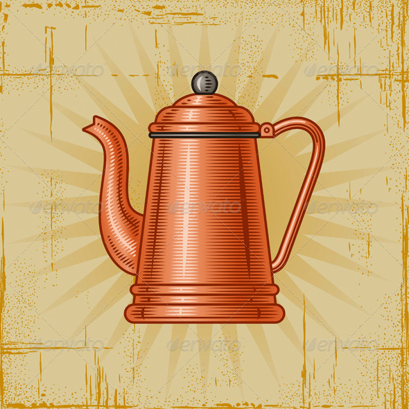 Graphic River Retro Coffee Pot Vectors -  Objects  Man-made objects 1938958