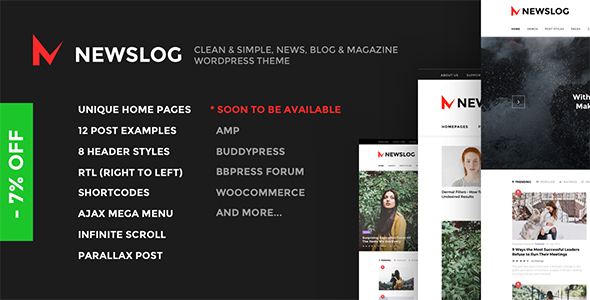 Newslog – Clean News & Magazine WordPress Theme (News / Editorial) images