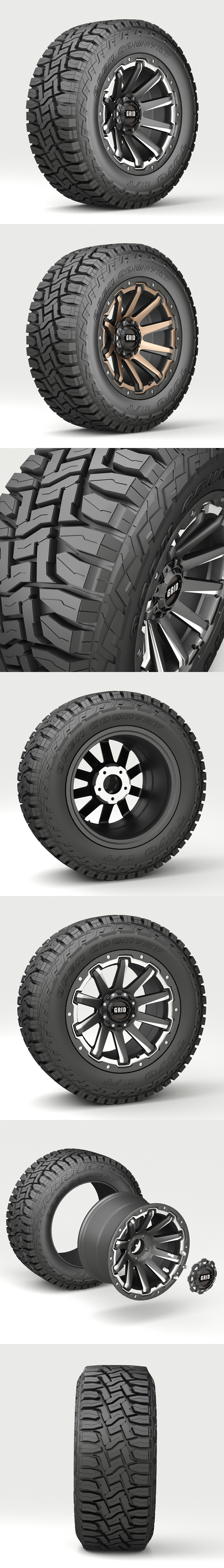Off Road wheel and tire 4 - 3DOcean Item for Sale