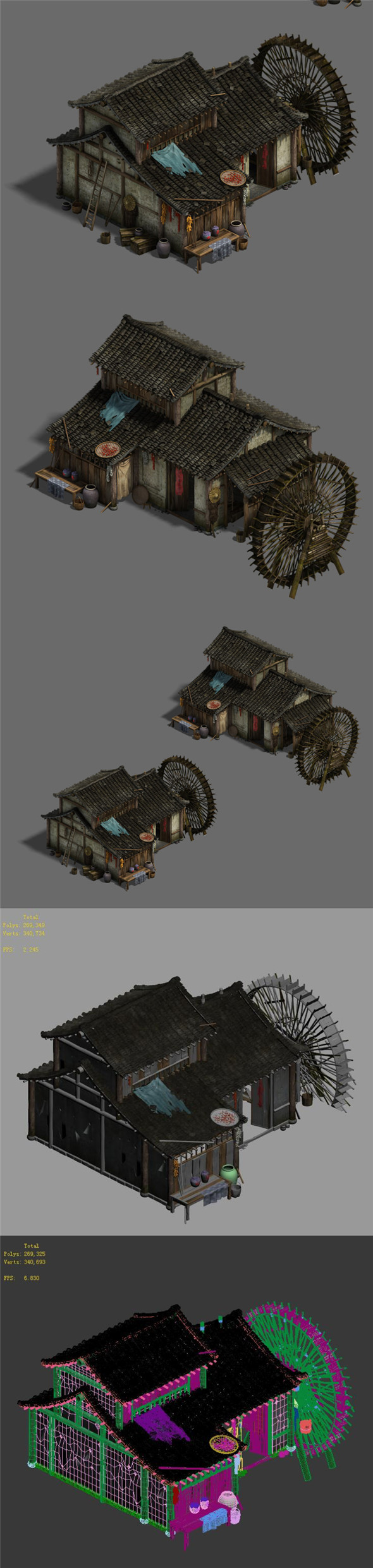 Ordinary town - medium - sized houses - waterwheels - 3DOcean Item for Sale